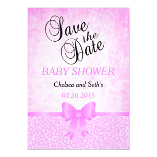 Jaguar Animal Cat Pattern  Pink   Baby Girl Shower Magnetic Card