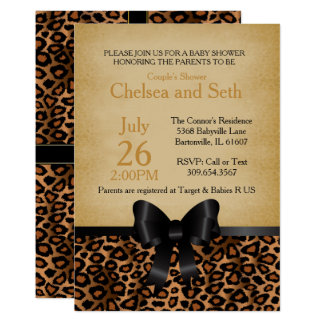 Jaguar Animal Cat Print Pattern   Baby Shower Card