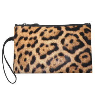 Jaguar Animal Pattern Faux Fur Wristlet Wallet