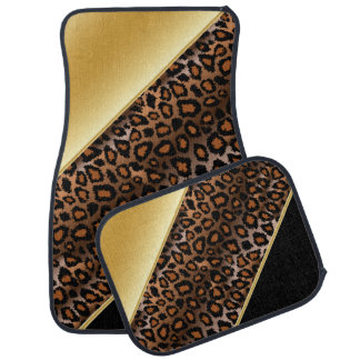 Jaguar Animal Print | Gold | Personalize Car Floor Mat