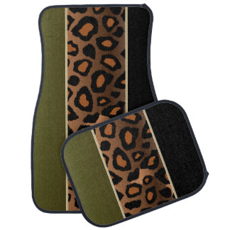 Jaguar Animal Print | Olive Green | Personalize Car Floor Mat