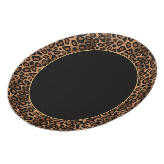 Jaguar Animal Print Patter with Gold Accent Plate