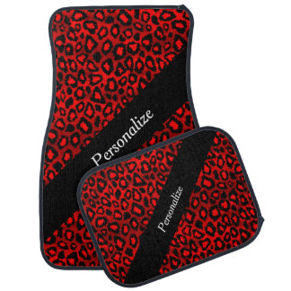 Jaguar Animal Print | Red | Personalize Car Floor Mat