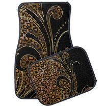 Jaguar Animal Print Swirls | Brown Car Mat