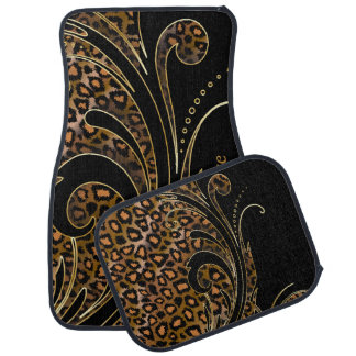 Jaguar Animal Print Swirls | Brown | Personalize Car Mat