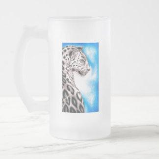 Jaguar Art Frosted Glass Beer Mug