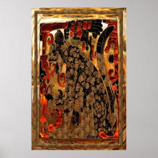 Jaguar AZTEC Gold & Red Foil Folk Art Poster