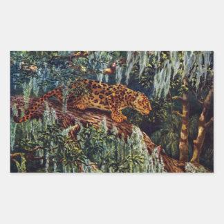 Jaguar Beneath Spanish Moss Rectangular Sticker