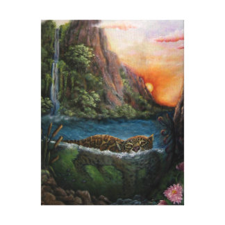 Jaguar Big Cat Fantasy Sunset Stretched Canvas Print