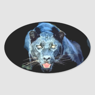 Jaguar - Black Panther Cat Oval Stickers