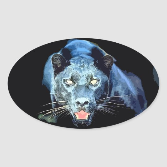 Jaguar - Black Panther Cat Oval Stickers