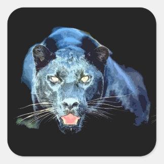 Jaguar - Black Panther Cat Square Stickers