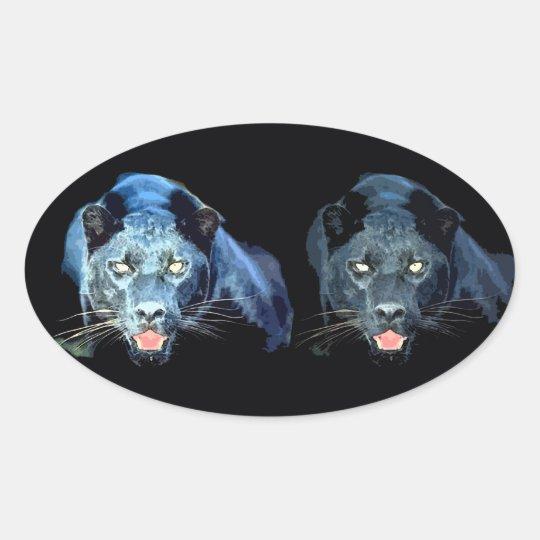 Jaguar - Black Panther Oval Stickers