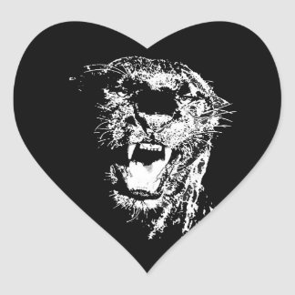 Jaguar - Black Panther Heart Sticker