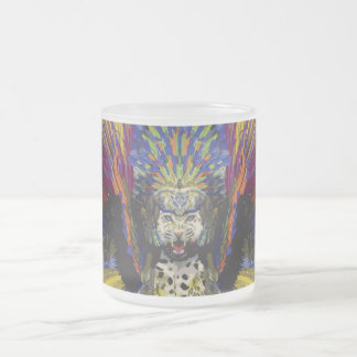 Jaguar Carnaval Dancer Frosted Glass Coffee Mug