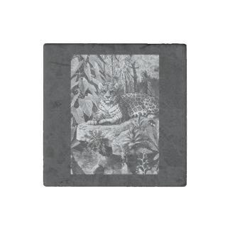 Jaguar Cat Marble Stone Magnet