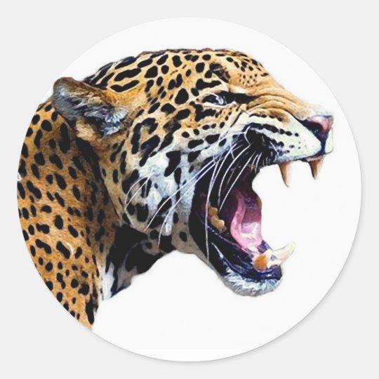 Black Jaguar Growl: Jaguar Classic Round Sticker
