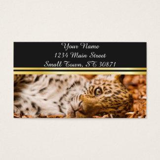 Jaguar Cub Lying in Foliage Business Card