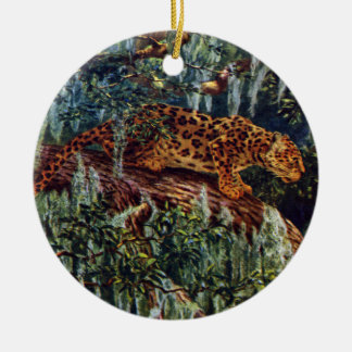Jaguar debajo del musgo español adorno navideño redondo de cerámica
