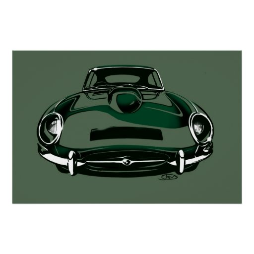 Jaguar e-type dark green poster