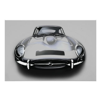 Jaguar e-type Grey Poster
