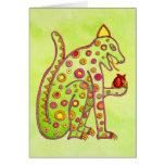 Jaguar Eating Heart (lt green wc) Greeting Card