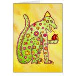 Jaguar Eating Heart (yellow wc) Greeting Card