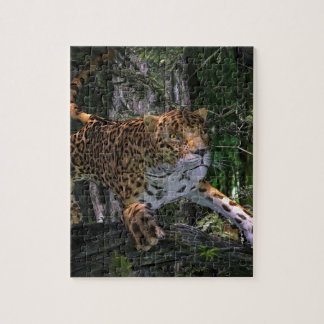 Jaguar leaping in the forest jigsaw puzzle