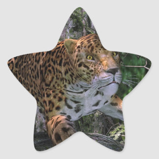 Jaguar leaping in the forest stickers