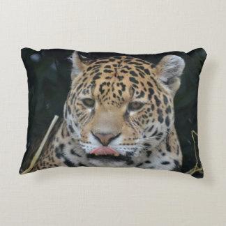 Jaguar Licking His Lips Decorative Pillow