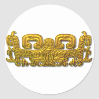 Jaguar maya - oro pegatina redonda