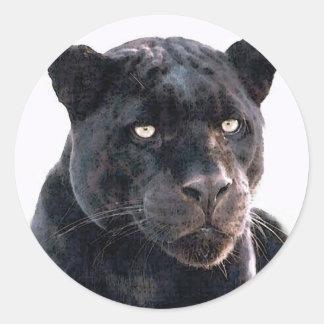 Jaguar negro pegatina redonda