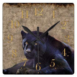 Jaguar negro, reloj de pared rústico de la fauna