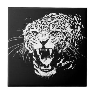 Jaguar negro y blanco azulejo cuadrado pequeño