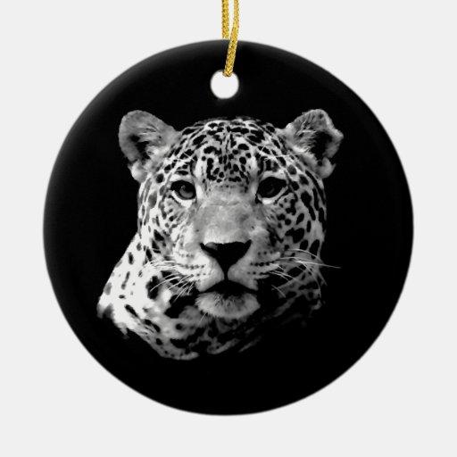 Jaguar negro y blanco ornaments para arbol de navidad