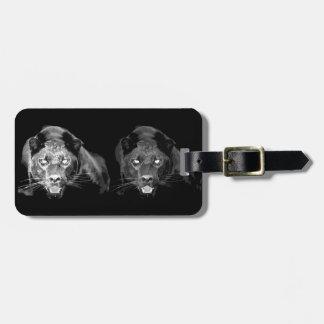 Jaguar negro y blanco etiqueta para equipaje