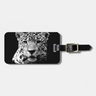 Jaguar negro y blanco etiquetas para maletas
