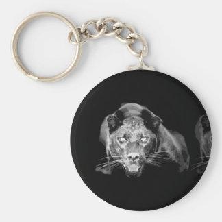 Jaguar negro y blanco - gatos salvajes llavero redondo tipo pin