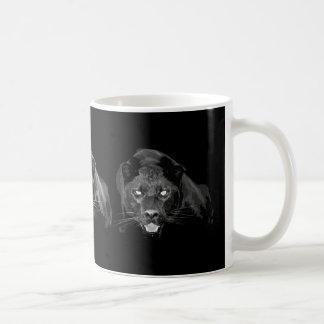 Jaguar negro y blanco - gatos salvajes taza básica blanca