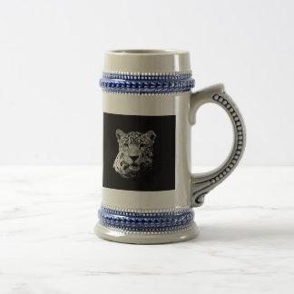 Jaguar negro y blanco jarra de cerveza