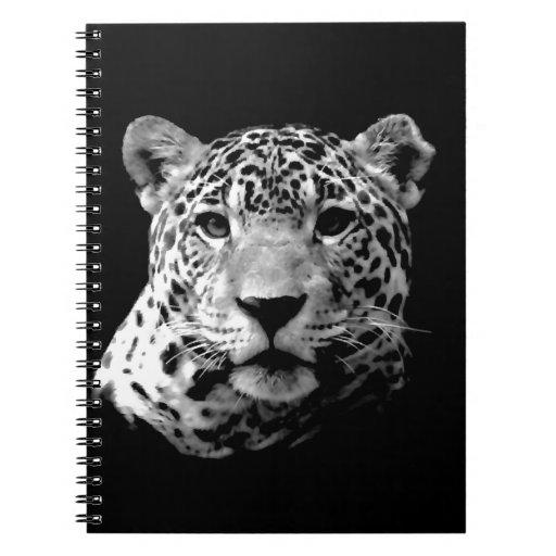 Jaguar negro y blanco libreta espiral