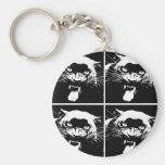 Jaguar negro y blanco llaveros personalizados