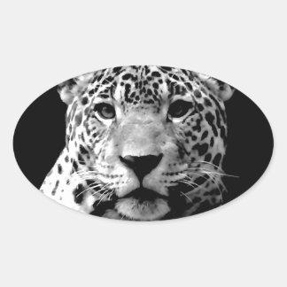 Jaguar negro y blanco pegatina ovalada