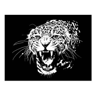 Jaguar negro y blanco postales