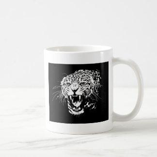 Jaguar negro y blanco taza