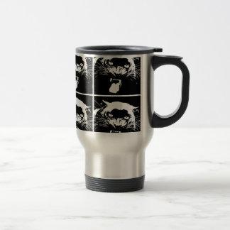 Jaguar negro y blanco tazas
