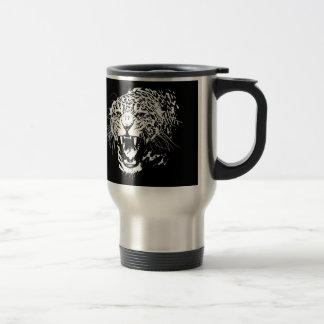 Jaguar negro y blanco taza de viaje