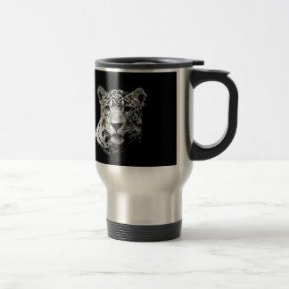 Jaguar negro y blanco taza térmica