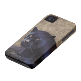 Jaguar negro y caso rústico del iPhone 4 de BG del Case-Mate iPhone 4 Fundas