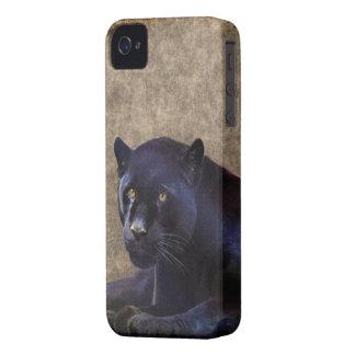 Jaguar negro y caso rústico del iPhone 4 de BG del iPhone 4 Protectores